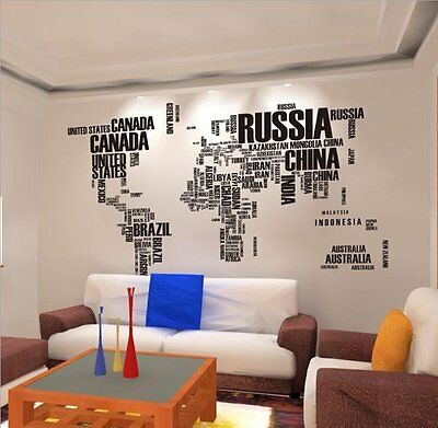 Quote Letter World Map  Home Decor Removable Vinyl Decal Art Mural Wall Stickers