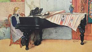 YOUNG-GIRL-Pianoforte-Lesson-Playing-Piano-1904-COLOR-Art-Nouveu-Era-Print