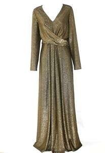 HOBBS-Gold-Charlize-Special-Occasion-Maxi-Dress-Uk-14-WORN-ONCE