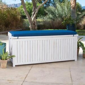 Details About Coastal White Wash Finish Eucalyptus Wood Deck Storage Box  Patio Bench W/Cushion