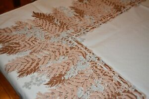 Vintage Mid Century Tablecloth 1940's-50's Cotton Brown Leaves Grey Berries