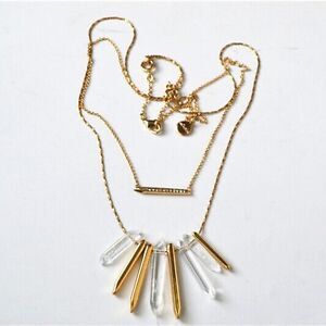 Authentic-Rebel-Spike-Cluster-Necklace-Gold-Double-Strands-Femmes-Collier-Bijoux