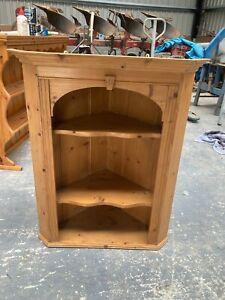 Solid Natural Pine Corner Cabinet Shelving Unit 35.5in 90cm high