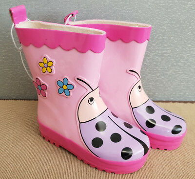 BNWT Little Girls Sz 8 Quality Target Brand Pink Purple Flowers Ladybug Gumboots