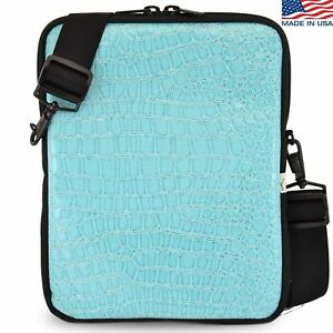 Details About Universal Tablet Bags Turquoise Crocodile Sleeve Bag With Shoulder Strap
