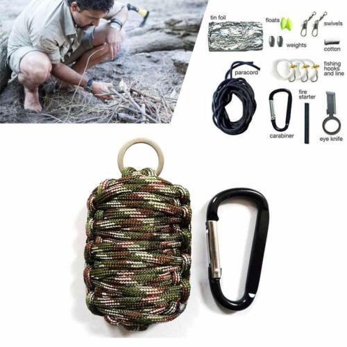 Survival Kit Paracord Grenade Fire Starter Camping Gear Kit Fishing Tool Kit  BE