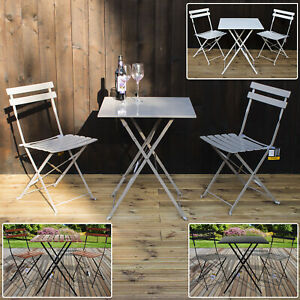 Image Is Loading Marko Folding Metal Outdoor Patio Bistro Set Garden