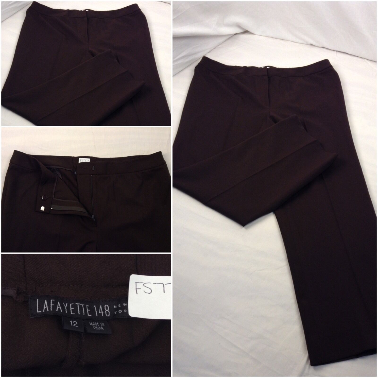 Lafayette 148 Pants Sz 12 Brown Wool Lycra Cropped Worn Once YGI  F5772
