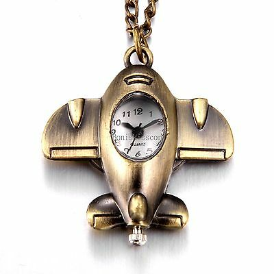 Vintage Bronze Tone Airplane Shape Pocket Quartz Watch Pendant Necklace w Chain