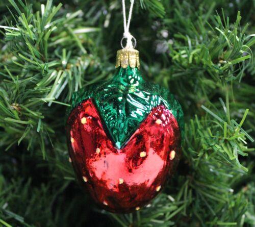 VINTAGE HAND BLOWN /& PAINTED CZECH MERCURY GLASS STRAWBERRY CHRISTMAS ORNAMENT