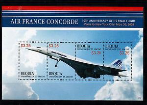 Bequia Gren St Vincent 2013 Neuf Sans Charnière Concorde 10th Anniv Final Flight 4v M/s Timbres-afficher Le Titre D'origine