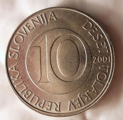 Uncommon High Quality Coin Slovenia Bin 2001 SLOVENIA 10 TOLARJEV