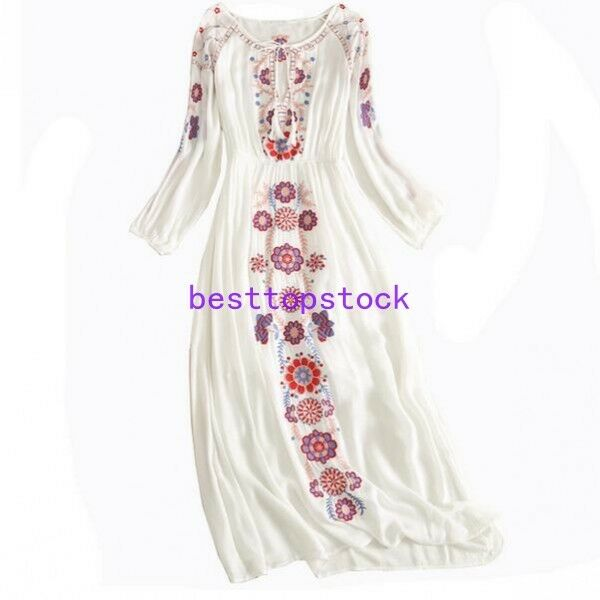 2018 New Womens Mexican Ethnic Floral Embroidered Boho Cotton Linen Beach Dress