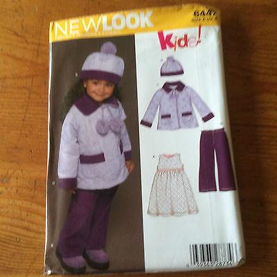 New Look Traje De Niños Patrón De Costura De Papel. 6447 Nuevo Y Sin Cortar Tamaño 6 Mths - 4 Amplia SeleccióN;