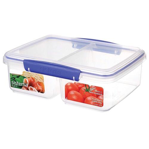 1.9 Litre Sistema KLIP IT Large Split Food Storage Container Assor Blue Clips