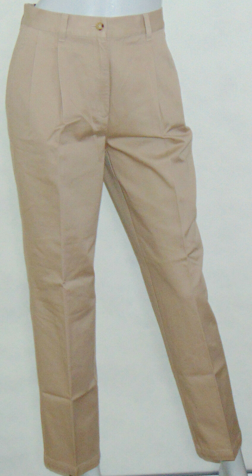 NWT Lauren Ralph Lauren Casual Pants 4P Pleat Front 100% Cotton Beige Belt Loops