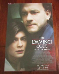 The Da Vinci Code 2006 Movie Poster Print 27x40 Tom Hanks Ebay