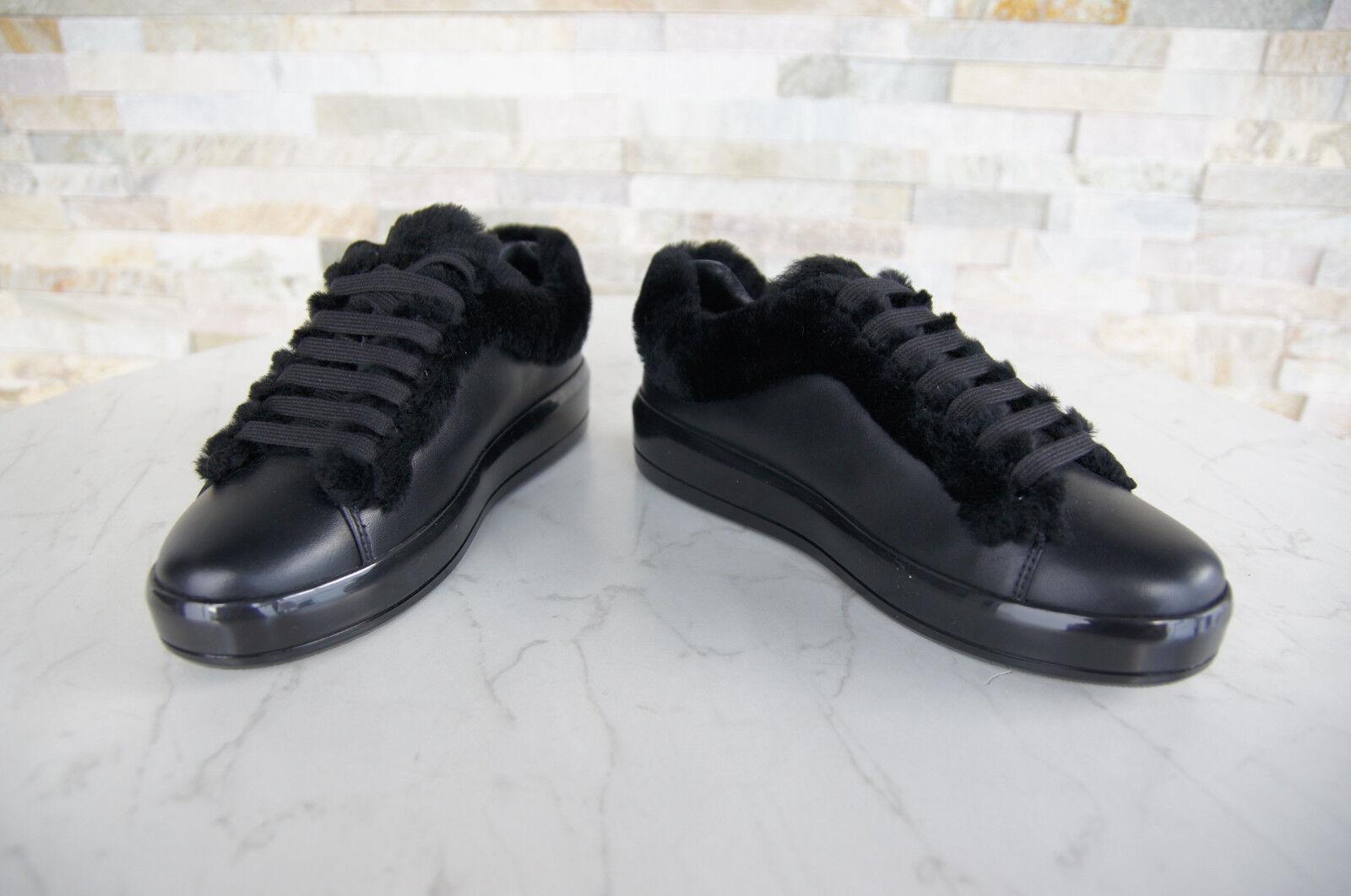 Prada 36,5 Baskets Fourrure Chaussures à Lacets Peau de Mouton Mouton Mouton Noir Neuf a7f683
