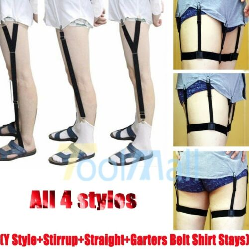 1//2 Pair Mens Stays Holders Elastic Shirt Garter Non-Slip Locking Clamps Uniform