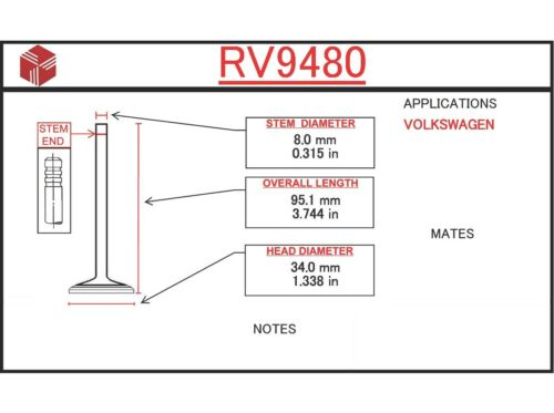 Engine Intake Valve ITM RV9480