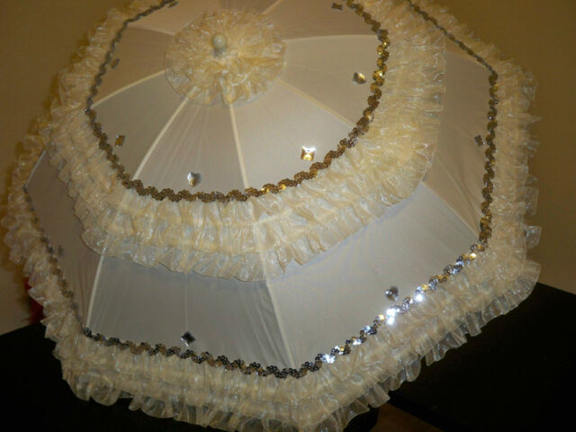 "HERE COMES THE BRIDE- HEARTS/DIAMONDS 24"" IVORY ORGANZA  SEQUIN IVORY PARASOL"