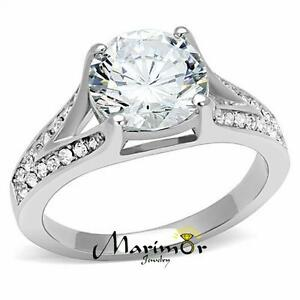 Women-039-s-3-17-Ct-Round-Cut-Zirconia-Stainless-Steel-Engagement-Ring-Size-5-10