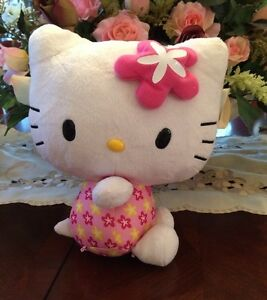 "SANRIO 11"" HELLO KITTY PLUSH STUFFED WITH PINK FLOWER ON HEAD & PINK DRESS 2012"