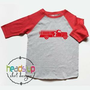 Image Is Loading Second Birthday Shirt Firetruck Toddler Boy Girl 2