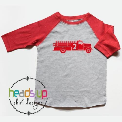 Second Birthday Shirt Firetruck - Toddler Boy/Girl 2 Firetruck Raglan Shirt  2nd
