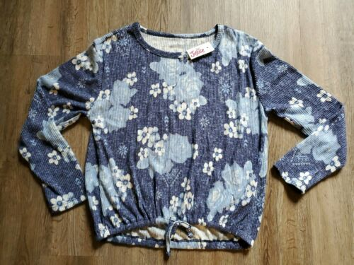 NWT Justice For Girls Shirt Size 10 blue white floral flowers long sleeve NEW