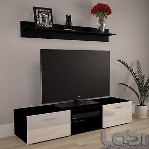 Armoire-basse-Meuble-TV-corps-du-meuble-noir-mat-haute-qualite
