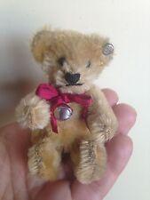 "RARE STEIFF Mini Antique Vintage 3.5"" Mohair GOLDEN BROWN BEAR W/ BUTTON NICE NR"