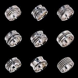 Solid-925-Sterling-Silver-Handmade-Wide-Band-Fidget-Spinner-Ring-Meditation-Ring