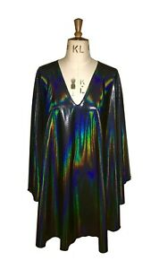 Baylis-amp-Knight-holographic-plunge-neck-STUDIO-54-Glam-70-039-s-DISCO-Dress