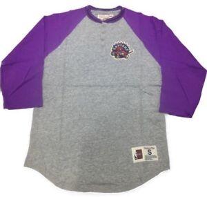 official photos 4fcc2 54d9e Details about Toronto Raptors Mitchell Ness 4 Button-Up Henley 3/4 Sleeve  Purple T Shirt XXL