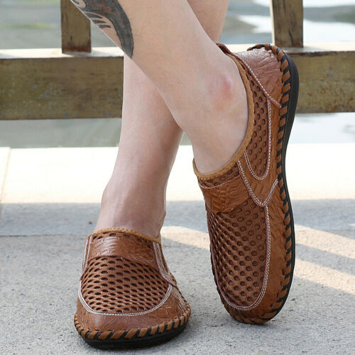 Mens Round Toe Flats Slip On Loafers Mesh Leather Spliced New Breathable Shoes
