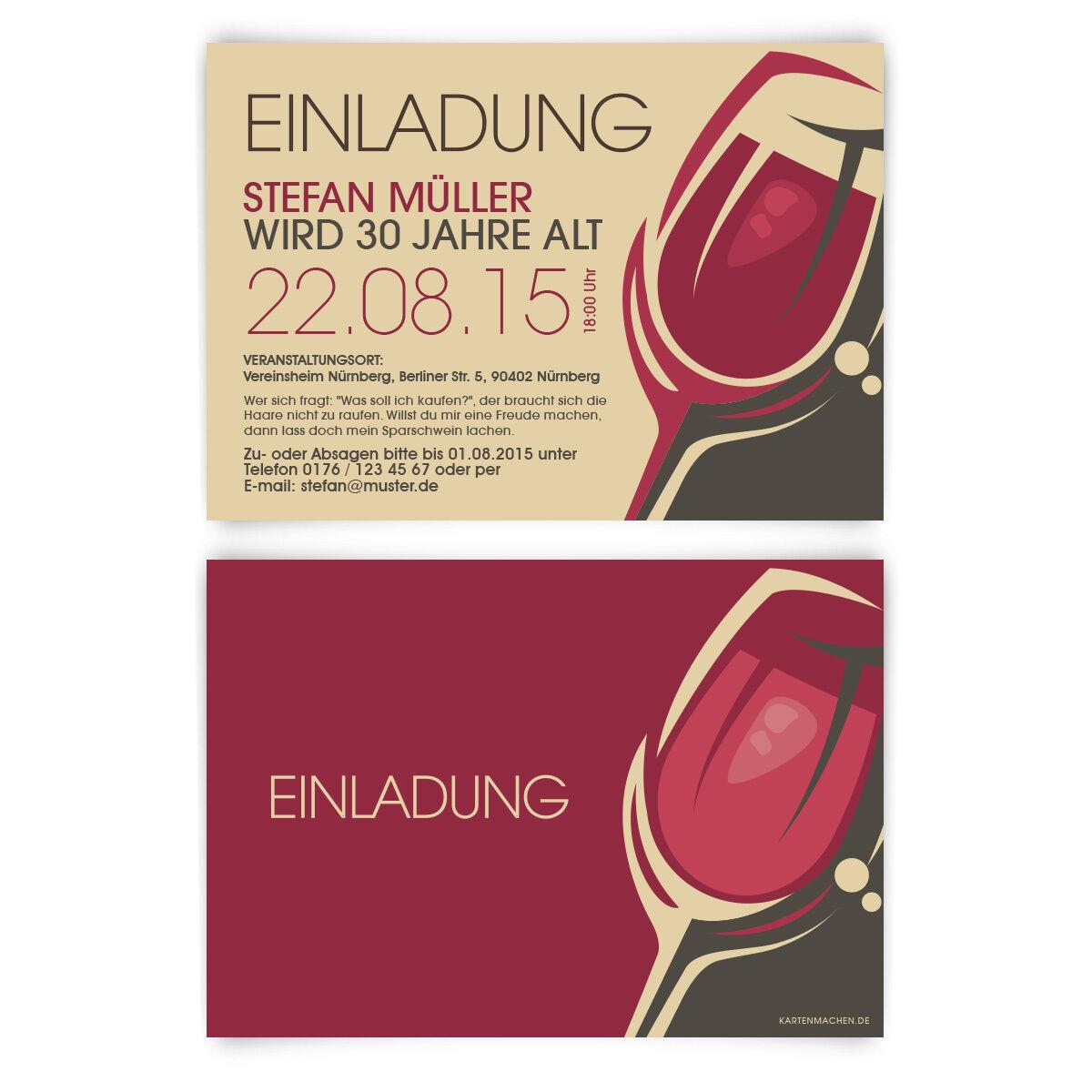Einladungskarten zum Geburtstag Rotwein Rot Wein Glas Trauben Einladung | Hohe Qualität und geringer Aufwand  | Überlegene Qualität
