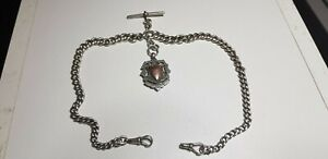 ANTIQUE-SOLID-SILVER-DOUBLE-ALBERT-WATCH-CHAIN-WITH-FOB-78-GRAMS
