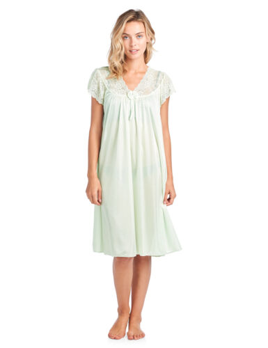 Casual Nights Women/'s Fancy Lace Neckline Silky Tricot Short Sleeve Nightgown