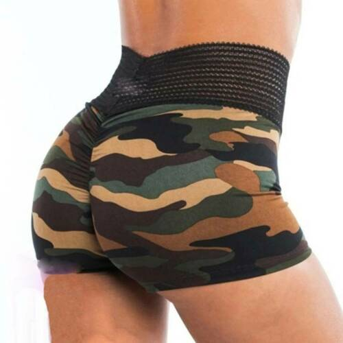 Damen Camo Kurzehose Push Up Yoga Shorts Hohe Taille Elastische Sport Hotpants