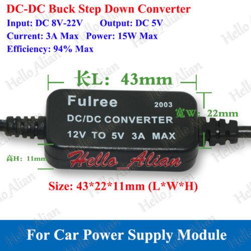 DC-DC Buck Step Down Converter 12V 9V to 5V 3A 15W USB Charger Car Power Supply
