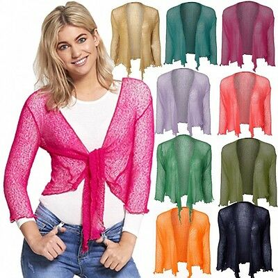 NEW DIVADAM Womens Tie Up 3//4 Sleeve Fine Knit Cropped Stretchy Shrug Top 8-14
