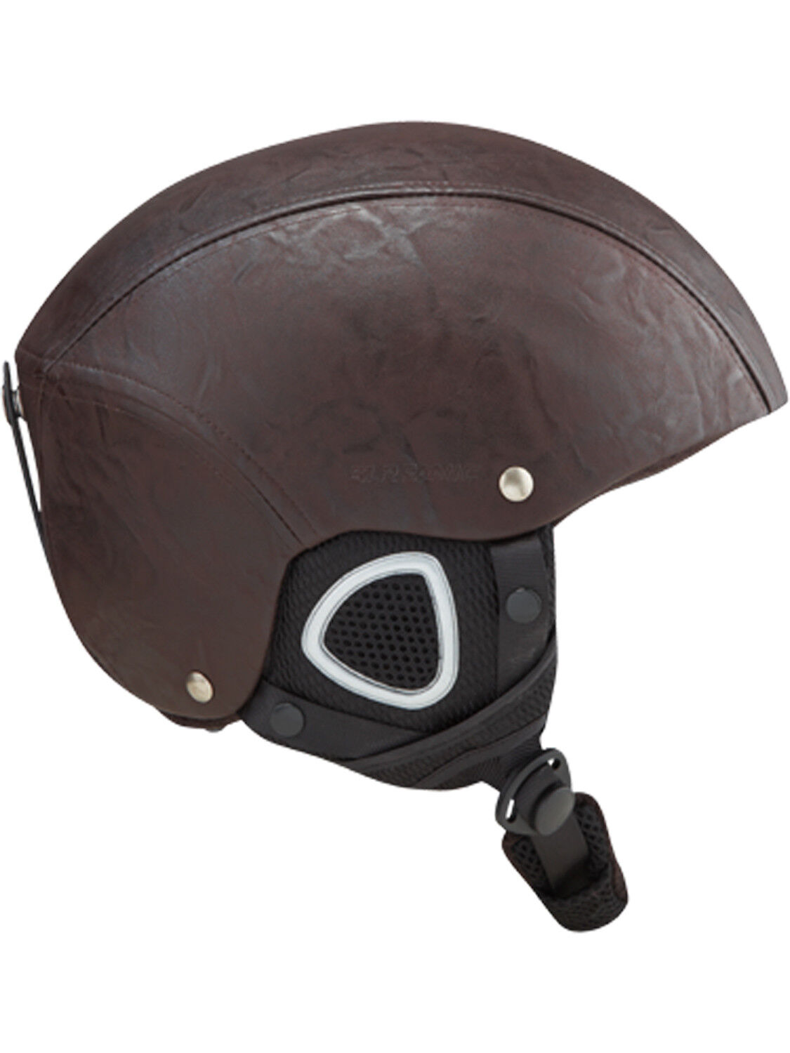 Mens Ski Snowboard Helmet New Brown 59-60CM Head Predection Adult Leather