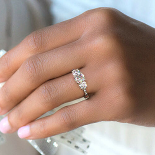1.30 Carat D//VVS1 Round Diamond Engagement Rings White Gold Over Size 5 6 7 8 9