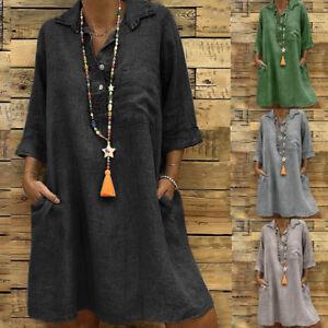 Women-Retro-Long-Sleeve-Cotton-Linen-Short-Mini-Dress-Turn-down-Collar-Long-Tops