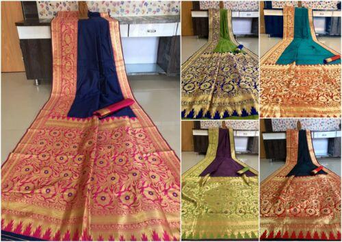 Saree Sari Bollywood Banarasi Blouse Party Wear Weaving Silk Zari Border Sari IS