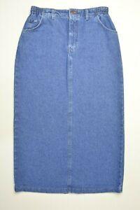 VTG LEE Size 12 M Womens Modest ELASTIC Waist LONG Length Blue Jean Denim Skirt