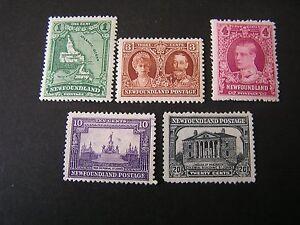 NEWFOUNDLAND-SCOTT-145-147-148-2-153-157-TOTAL-5-1926-PICTORIALS-ISSUE-MVLH