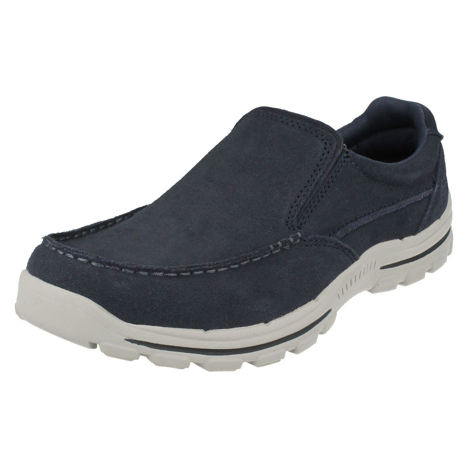 MENS SKECHERS SLIP ON TRAINERS NAVY BLUE MEMORY FOAM TRAINERS ON CASUAL SHOES 64625 NAVID 684fa3