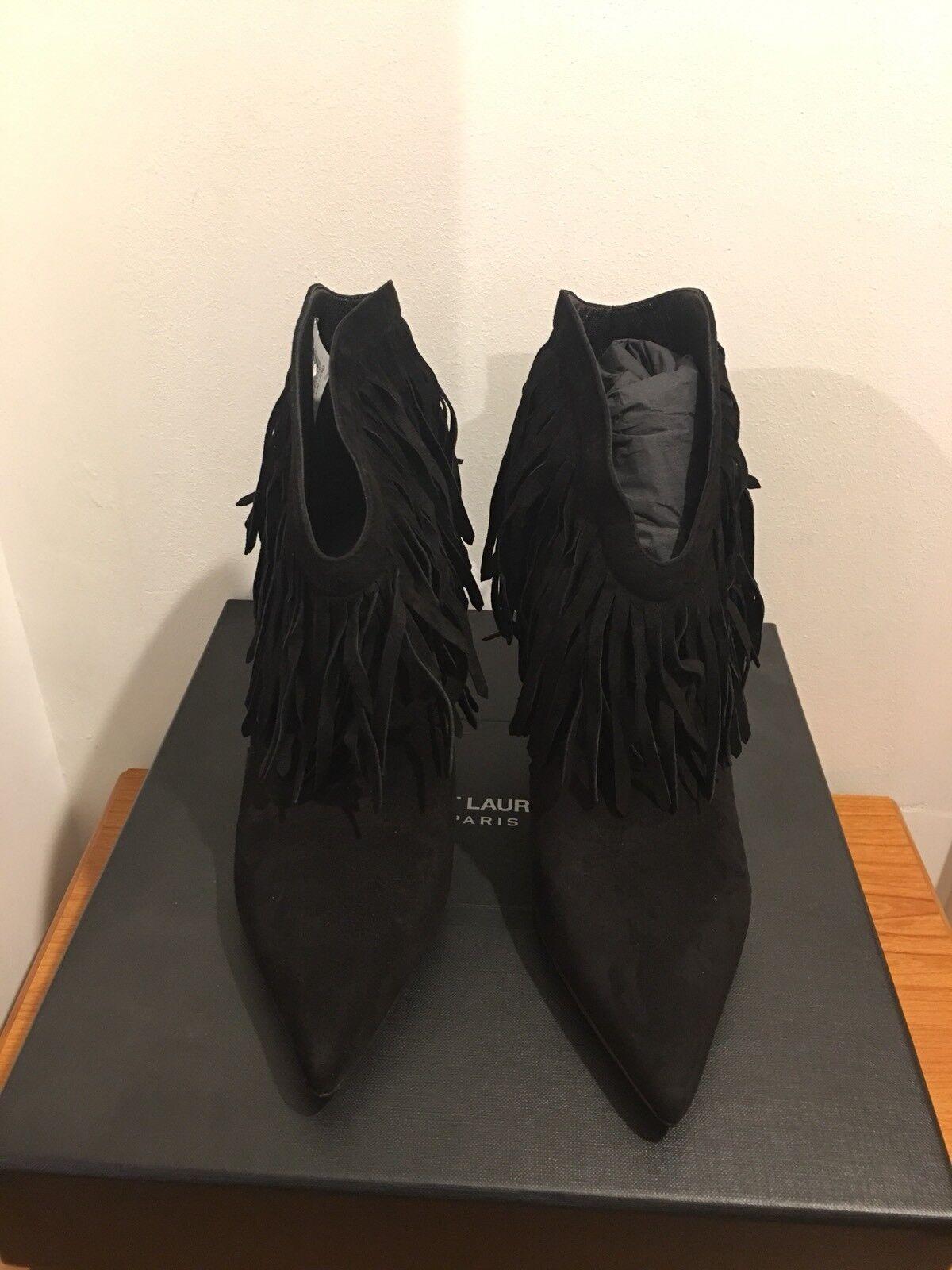 SAINT LAURENT  Stiefel Paris Fringe Suede Ankle Stiefel  Größe UK 5/EU 38 Sold Out 35a2c2